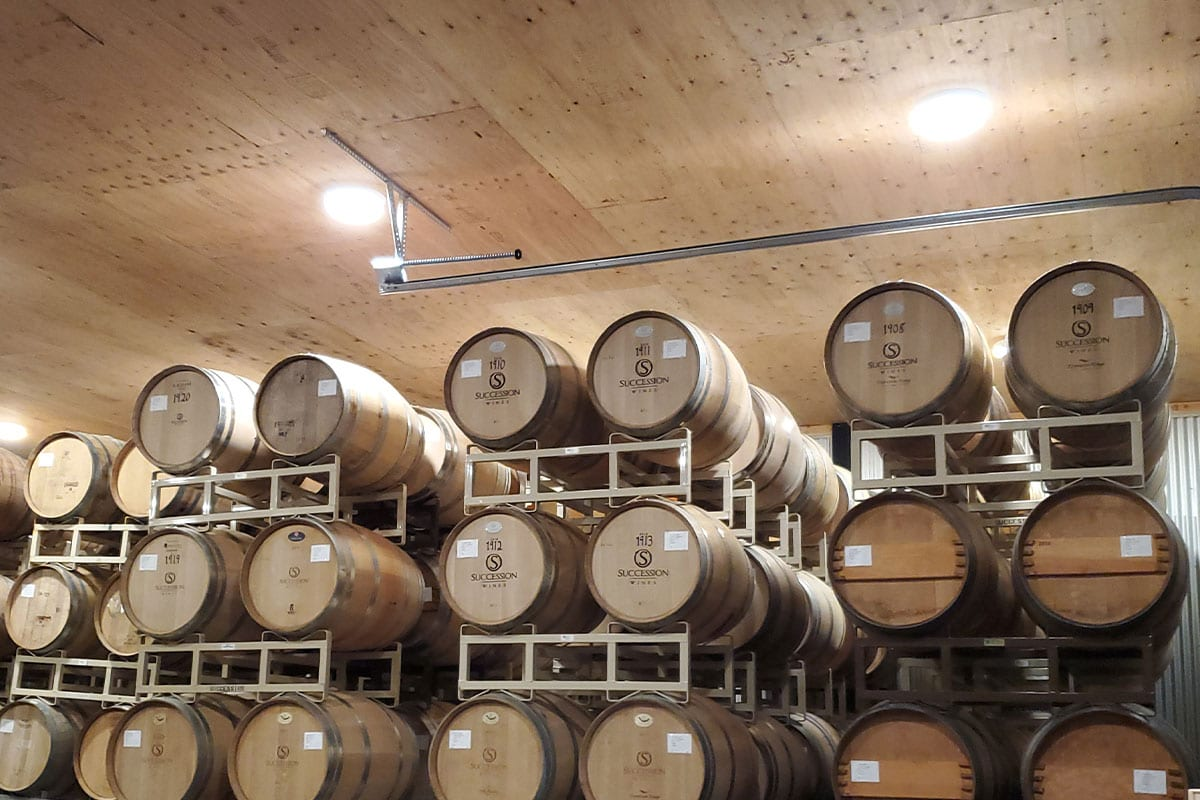 Succession Wines Stacked Wine Barrels